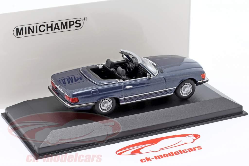 Mercedes-Benz 350 SL (R107) Anno di costruzione 1974 blu metallico 1:43 Minichamps