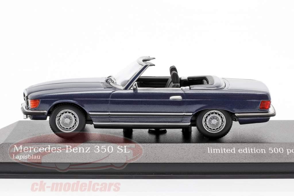 Mercedes-Benz 350 SL (R107) Byggeår 1974 blå metallisk 1:43 Minichamps