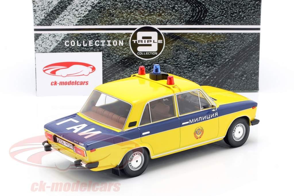 Lada 2106 policía URSS Año de construcción 1976 amarillo / azul oscuro 1:18 Triple9