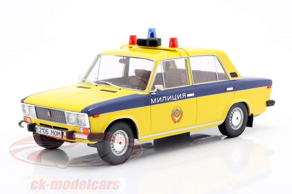 Lada 2106 police URSS Année de construction 1976 Jaune / bleu foncé 1:18 Triple9