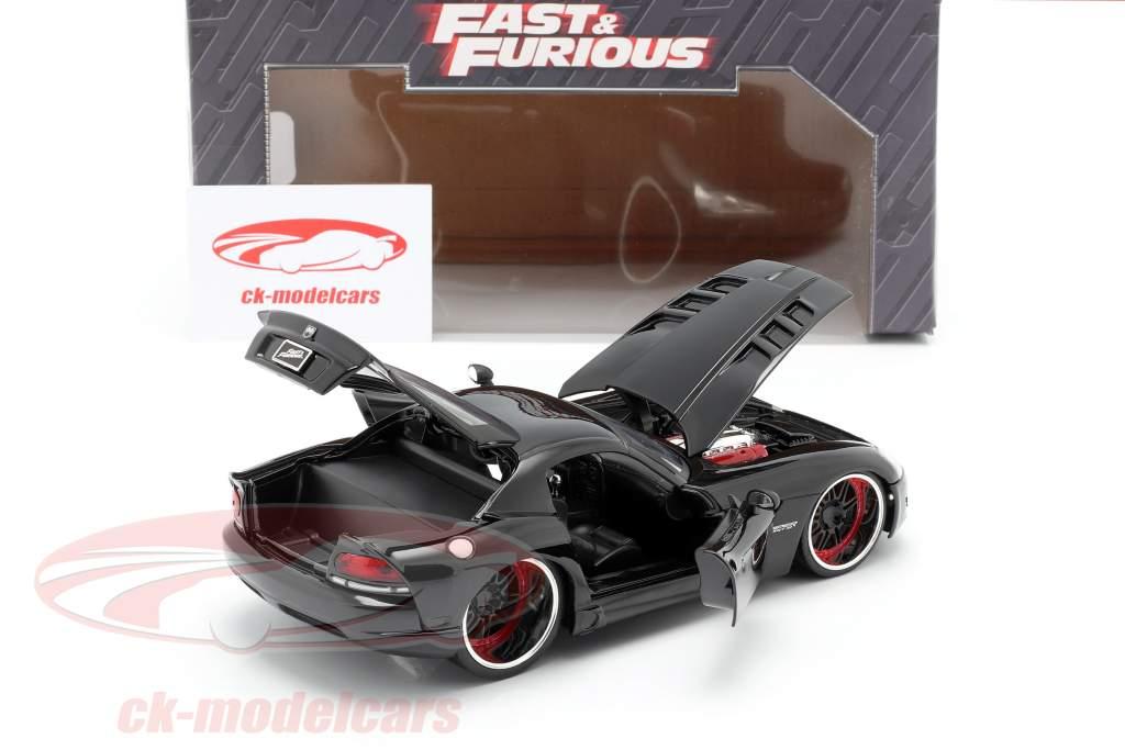 Letty's Dodge Viper SRT 10 film Fast and Furious 7 (2015) noir 1:24 Jada Toys