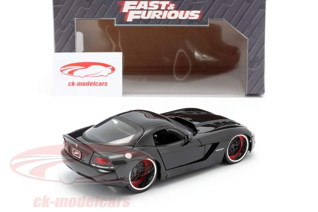 Letty's Dodge Viper SRT 10 filme Fast and Furious 7 (2015) preto 1:24 Jada Toys