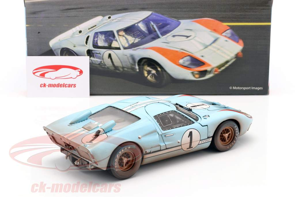 Ford GT40 MK II Dirty Version #1 2nd 24h LeMans 1966 Miles, Hulme 1:18 ShelbyCollectibles