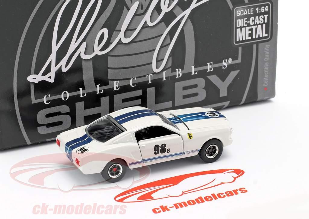 Shelby GT-350R #98B Versão de corrida 1965 Branco / azul 1:64 ShelbyCollectibles