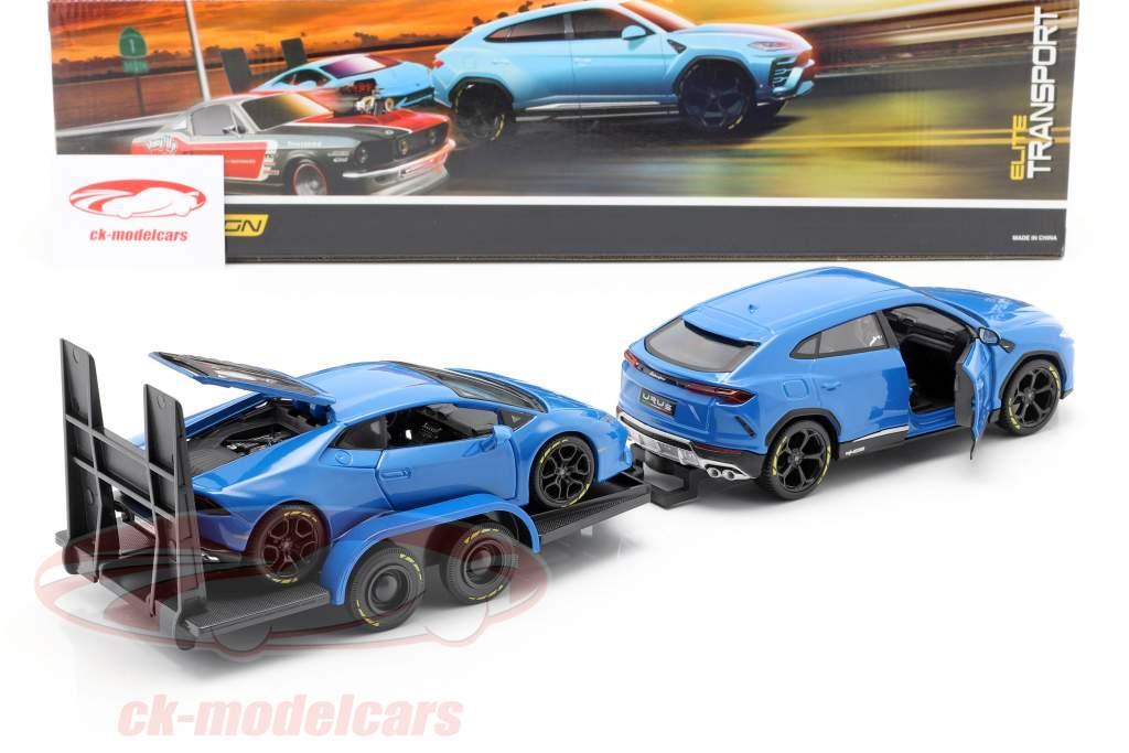 3-Car Set Lamborghini Urus mit Anhänger und Lamborghini Huracan 1:24 Maisto