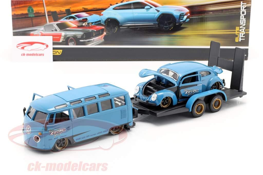 3-Car Set Volkswagen VW Samba Bus with Trailer and VW Beetle 1:24 Maisto