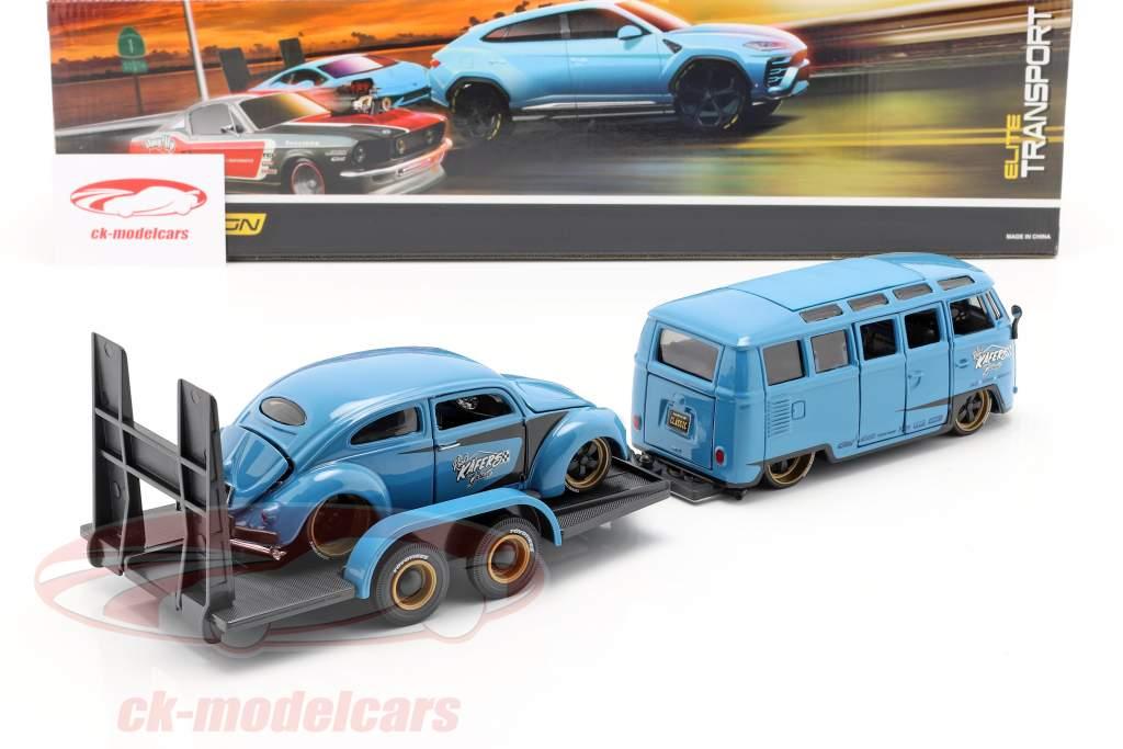 3-Car Set Volkswagen VW Samba Bus Med Anhænger og VW Bille 1:24 Maisto