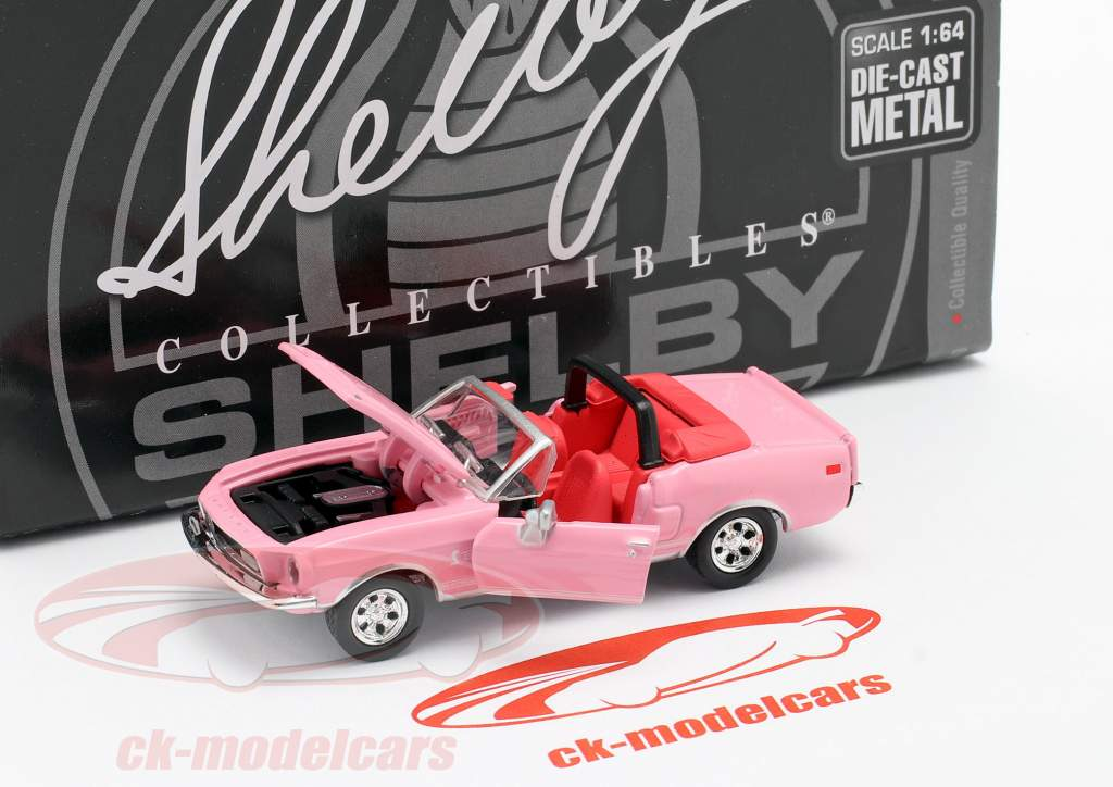 Shelby GT500KR Cabriolet Byggeår 1968 lyserød 1:64 ShelbyCollectibles