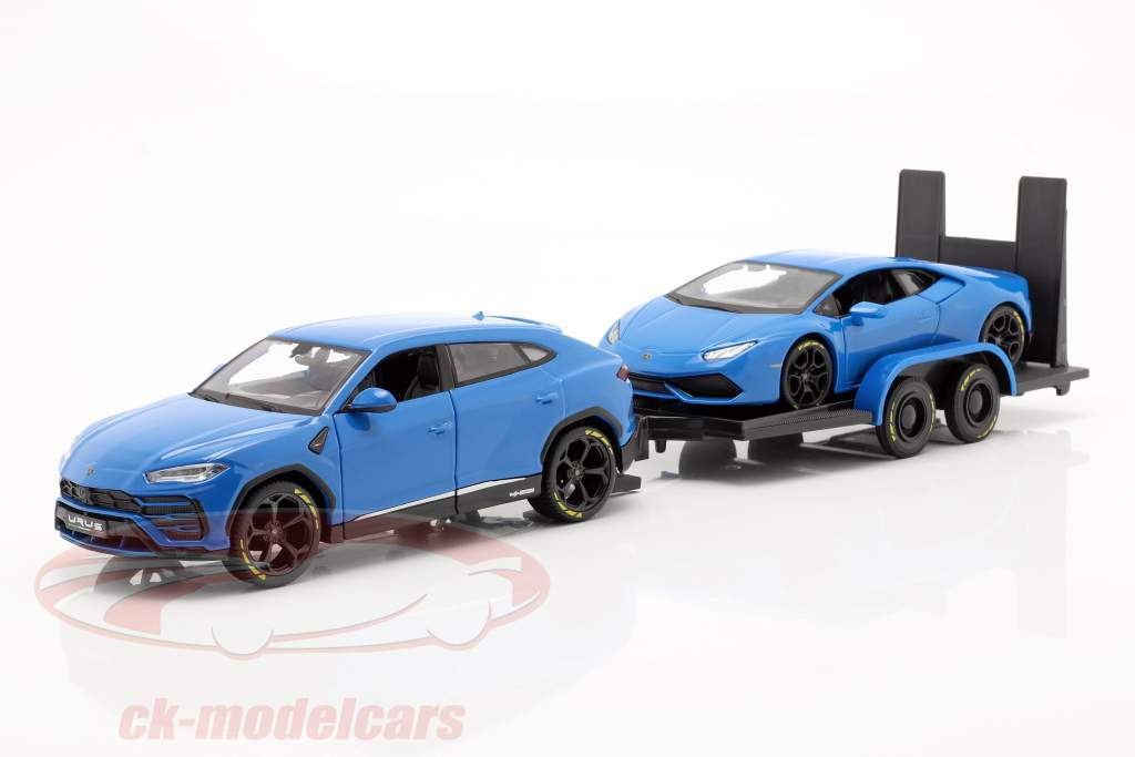 3-Car Set Lamborghini Urus with Trailer and Lamborghini Huracan 1:24 Maisto