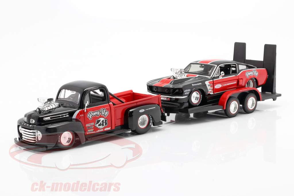 3-Car Set Ford F1 Pick-Up Avec Bande annonce et Ford Mustang 1:24 Maisto