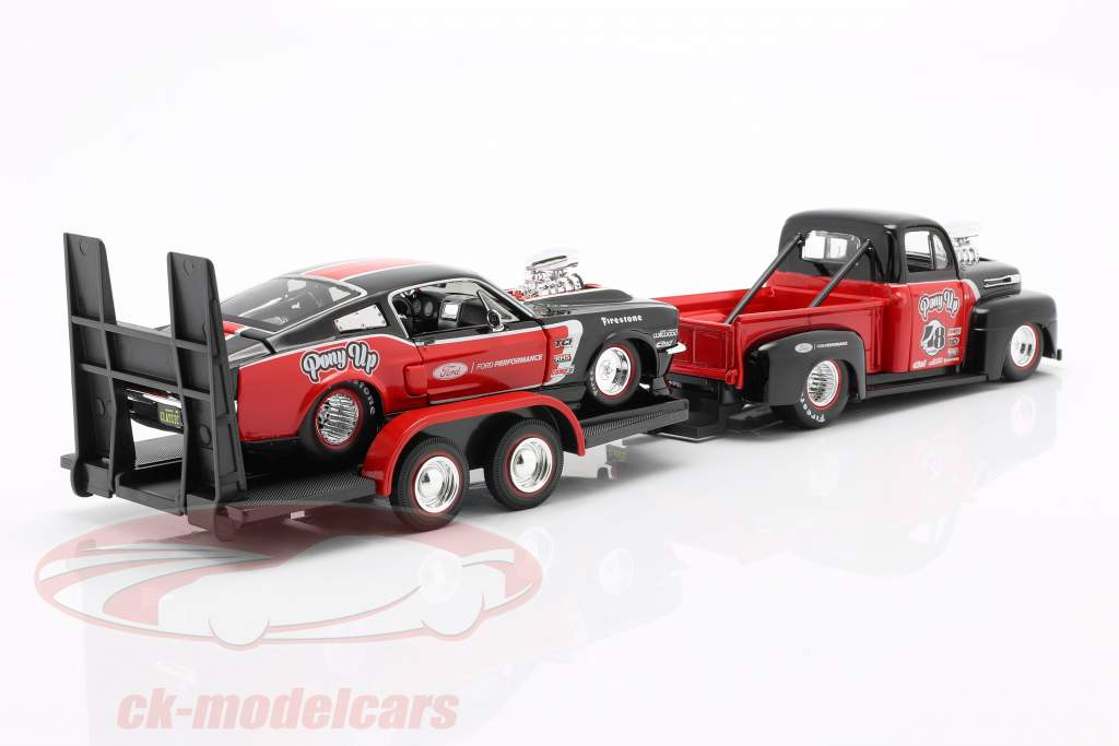 3-Car Set Ford F1 Pick-Up with Trailer and Ford Mustang 1:24 Maisto