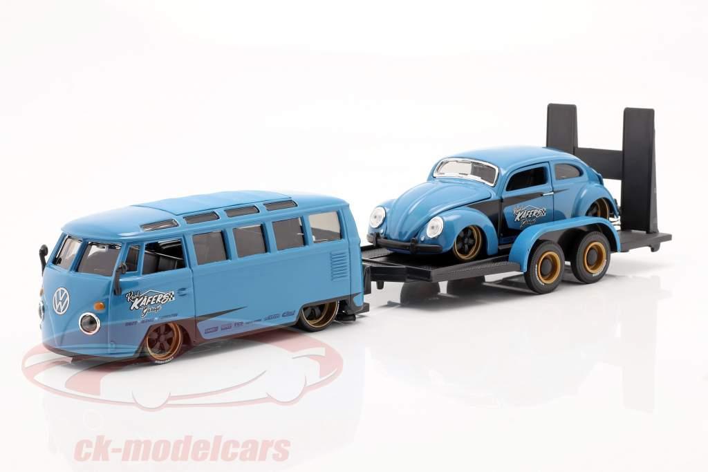 3-Car Set Volkswagen VW Samba Bus Met Aanhangwagen en VW Kever 1:24 Maisto