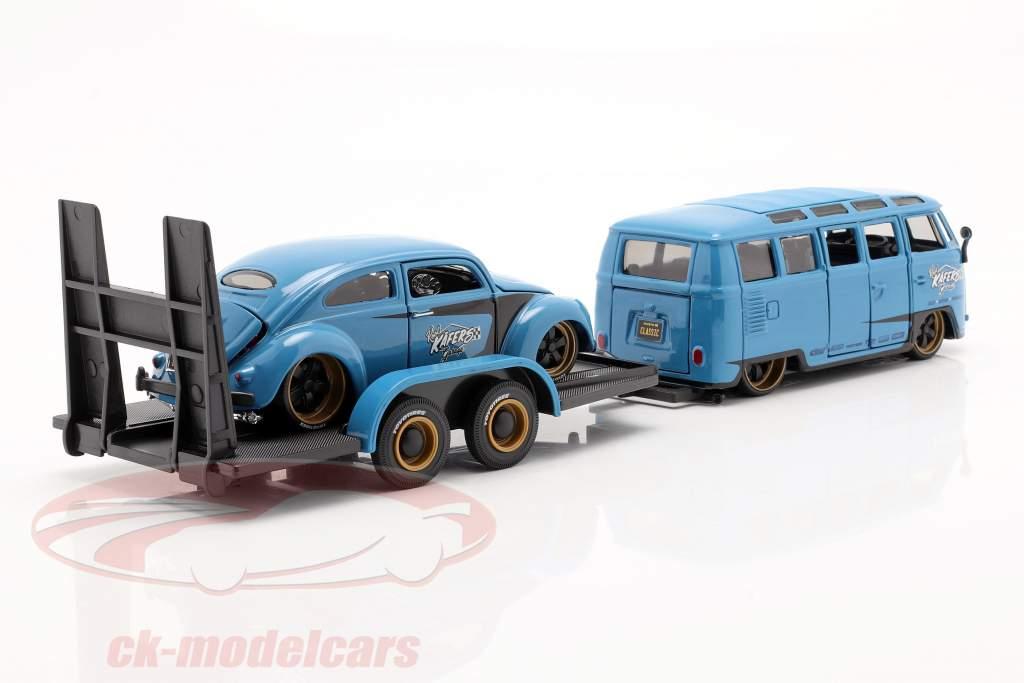 3-Car Set Volkswagen VW Samba Bus mit Anhänger und VW Käfer 1:24 Maisto