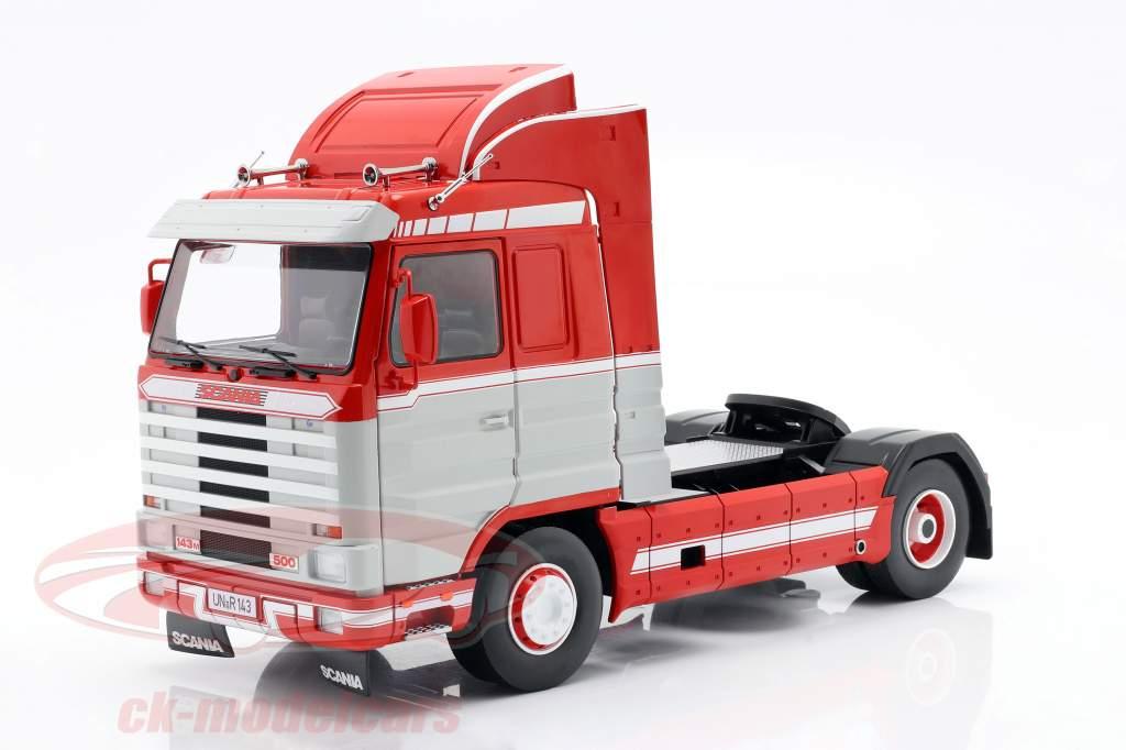 Scania 143 Streamline Lastbil 1995 rød / hvid / Grå 1:18 Road Kings