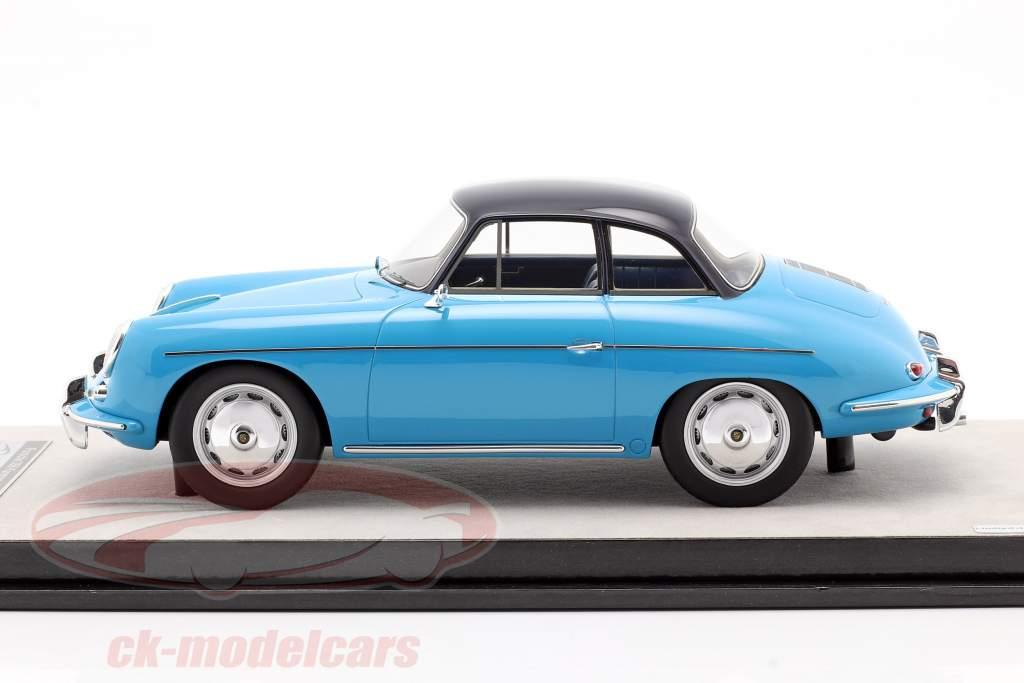 Porsche 356 Karmann Hard top year 1961 gloss light blue 1:18 Tecnomodel