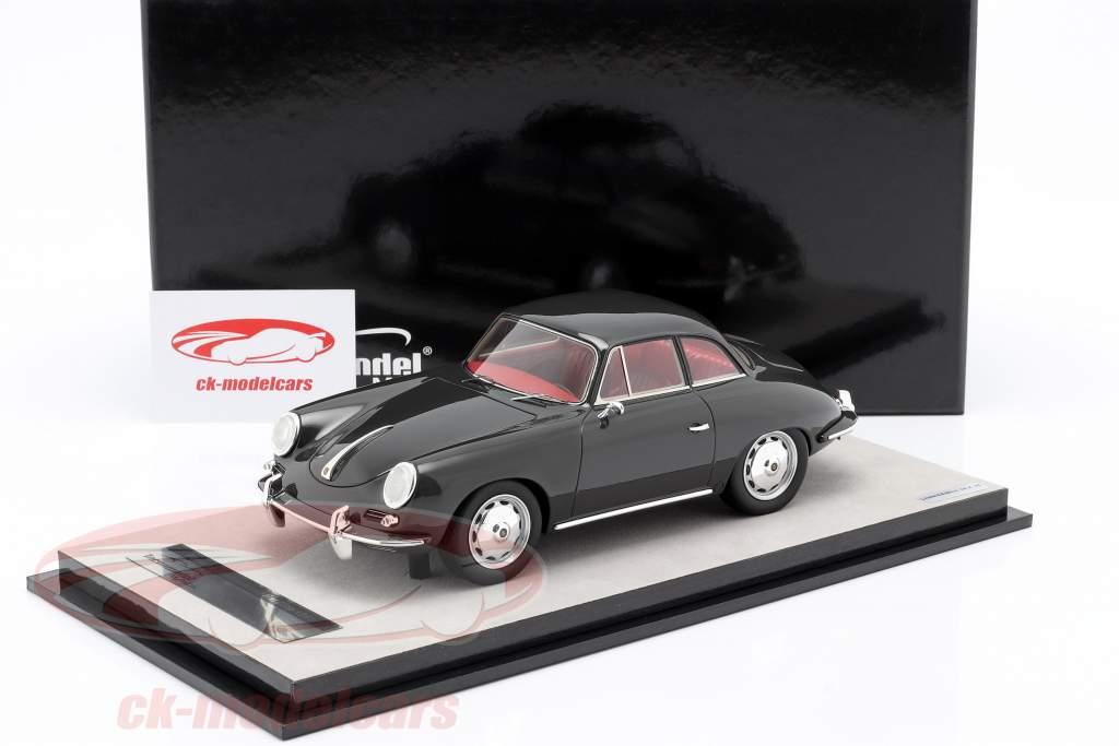 Porsche 356 Karmann Moeilijk top jaar 1961 glans donker grijs 1:18 Tecnomodel