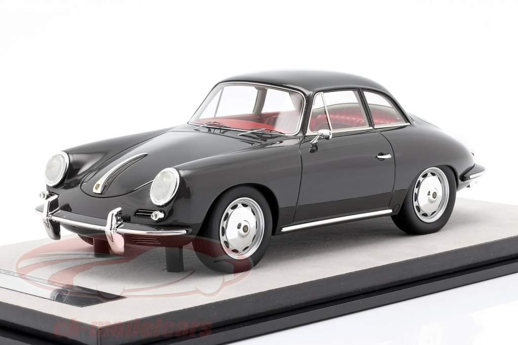 Porsche 356 Karmann Difícil parte superior año 1961 brillo oscuro gris 1:18 Tecnomodel