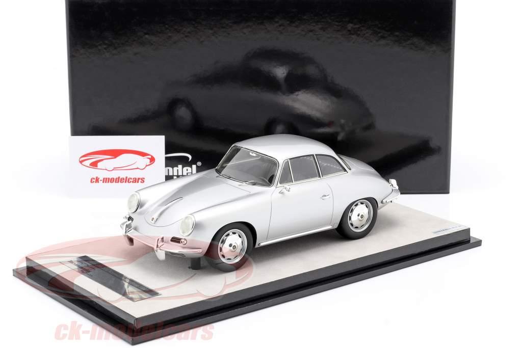 Porsche 356 Karmann Hardtop år 1961 sølv metallisk 1:18 Tecnomodel