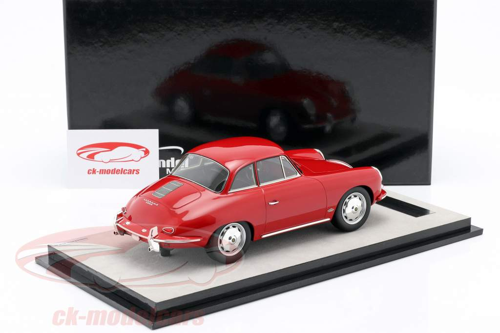 Porsche 356 Karmann Moeilijk top jaar 1961 glans rood 1:18 Tecnomodel