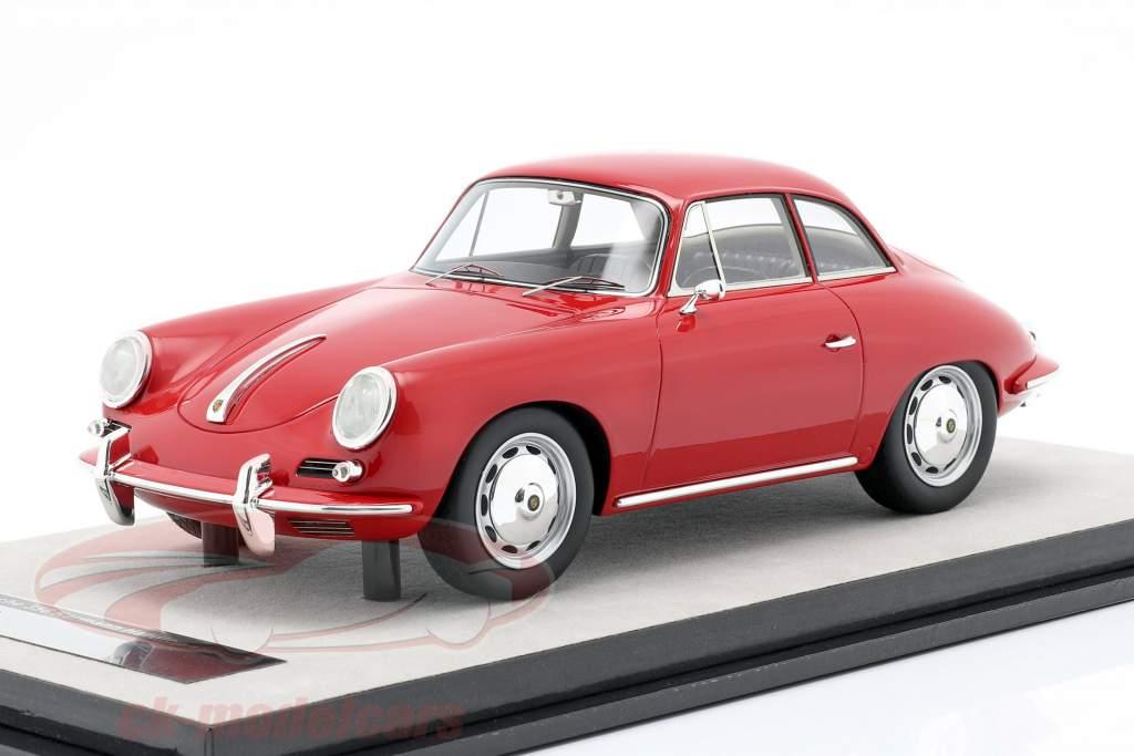 Porsche 356 Karmann Difícil parte superior año 1961 brillo rojo 1:18 Tecnomodel