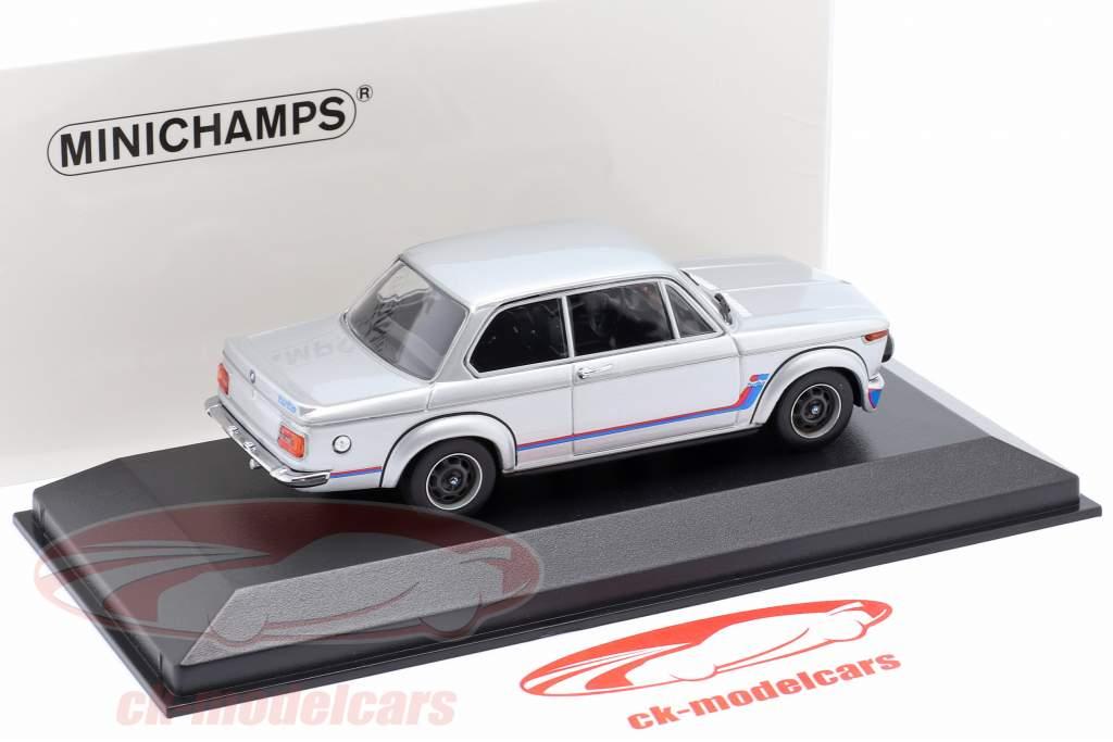 BMW 2002 Turbo (E20) Bouwjaar 1973 zilver 1:43 Minichamps