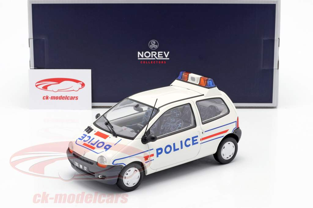 Renault Twingo politi år 1995 hvid / blå 1:18 Norev