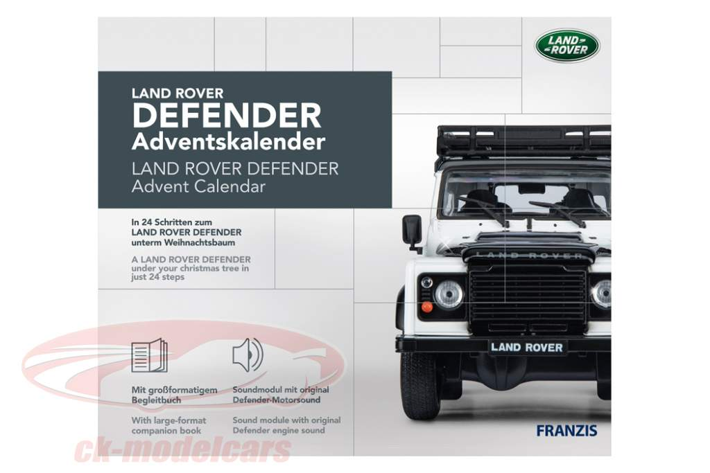 Land Rover Defender adventskalender 2020: Land Rover Defender hvid 1:43 Franzis