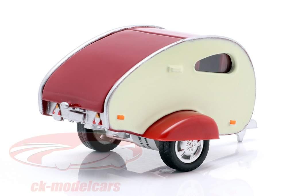 Caravan I burgunder / cremet hvid 1:43 Cararama