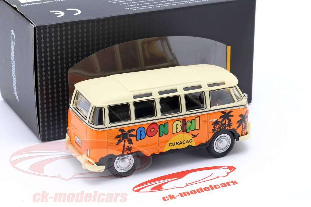 Volkwagen VW Samba Curacao Bon Bini Bouwjaar 1950 oranje / beige 1:43 Cararama