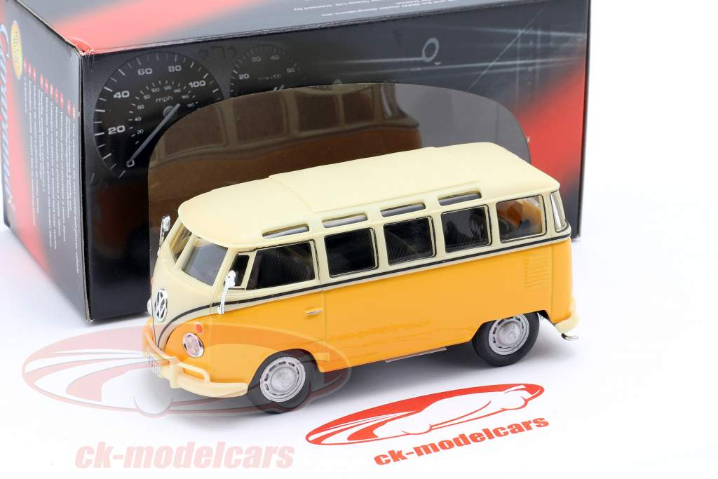 Cararama 1//43 Miniature VW Yellow Volkswagen Bus Samba With Caravan