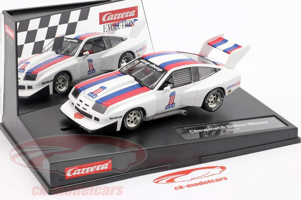 SlotCar Chevrolet Dekon Monza #1 white / blue / red 1:32 Carrera Evolution