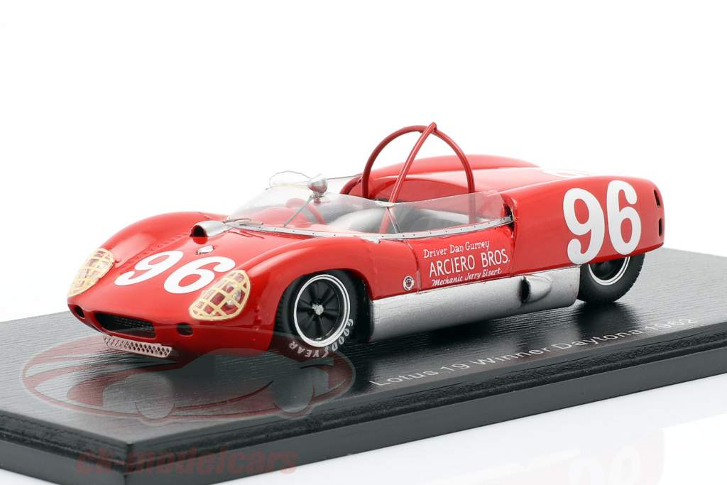 Lotus 19 #96 ganador 3h Daytona 1962 Dan Gurney 1:43 Spark