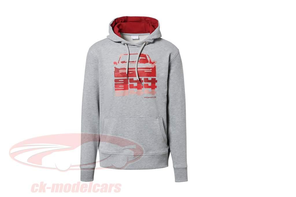 Pullover met capuchon Hashtag Porsche 944 Verzameling lichtgrijs / rood