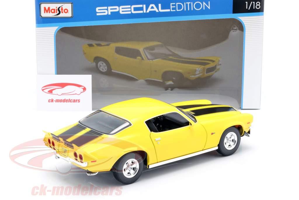 Chevrolet Camaro Année de construction 1971 Jaune / noir 1:18 Maisto