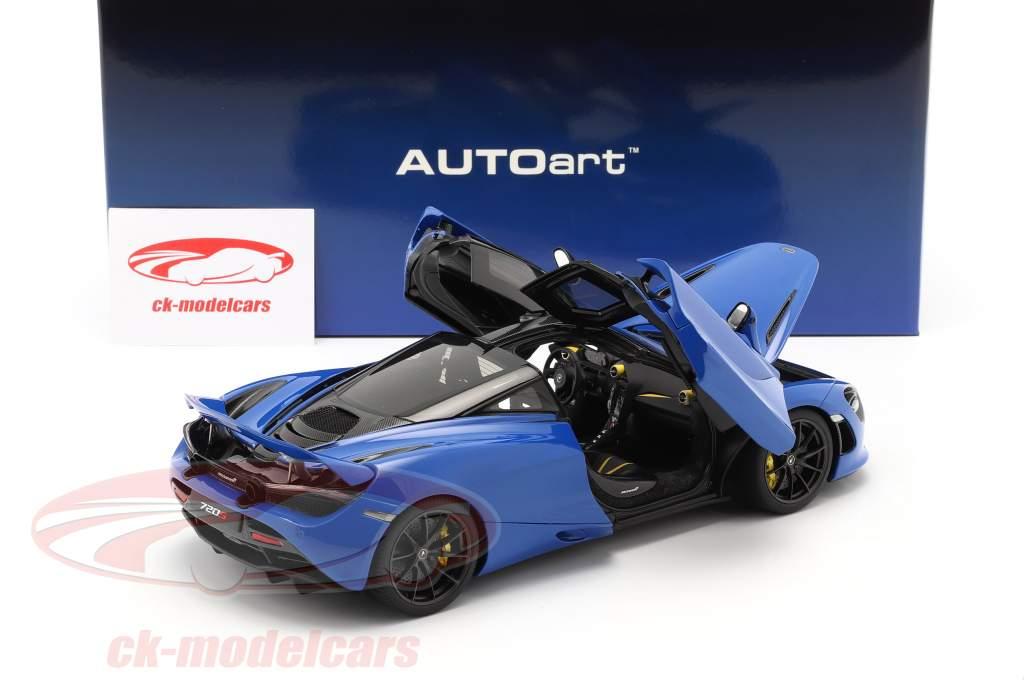 McLaren 720S Ano de construção 2017 azul metálico 1:18 AUTOart
