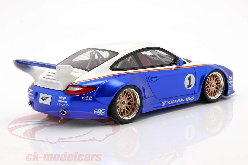 Porsche 911 (997) #1 Old & New Body Kit Rothmans 2018 blau / weiß 1:18 GT-SPIRIT