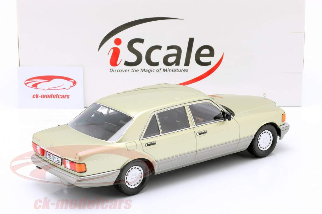 Mercedes-Benz S-Klasse (W126) Année de construction 1985 vert chardon / gris 1:18 iScale