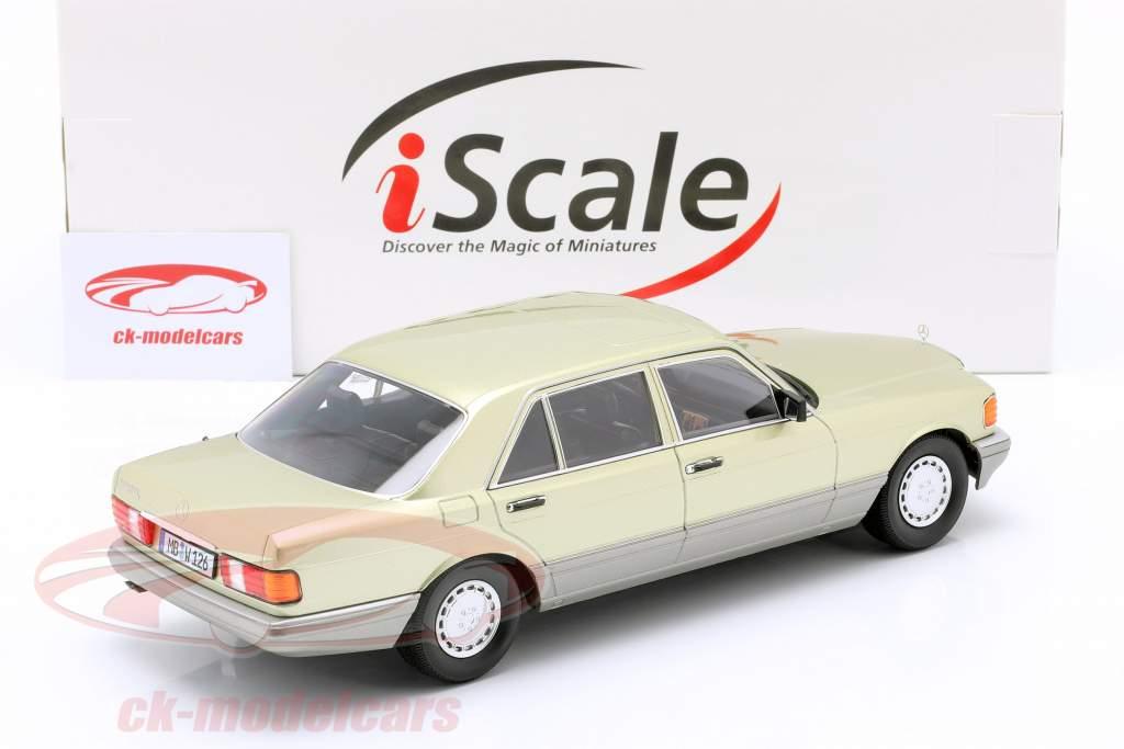 Mercedes-Benz S-Klasse (W126) Byggeår 1985 tidselgrøn / Grå 1:18 iScale