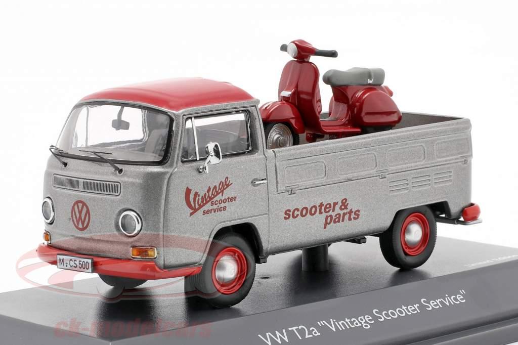 Volkswagen VW T2a Bus Vintage Scooter Service Zilver grijs / rood 1:43 Schuco