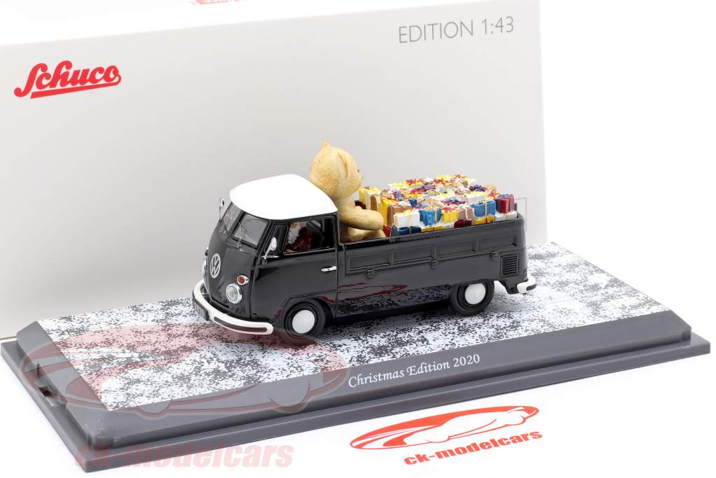 Volkswagen VW T1 Pickup truck Christmas Edition 2020 black / white 1:43 Schuco