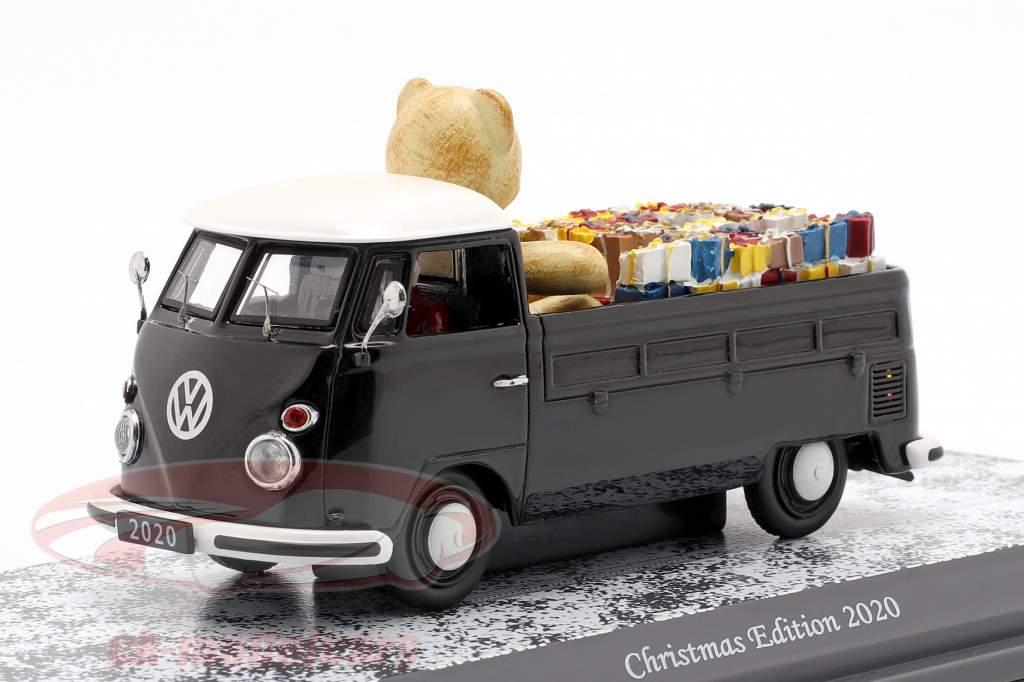 Volkswagen VW T1 Pritsche Christmas Edition 2020 schwarz / weiß 1:43 Schuco