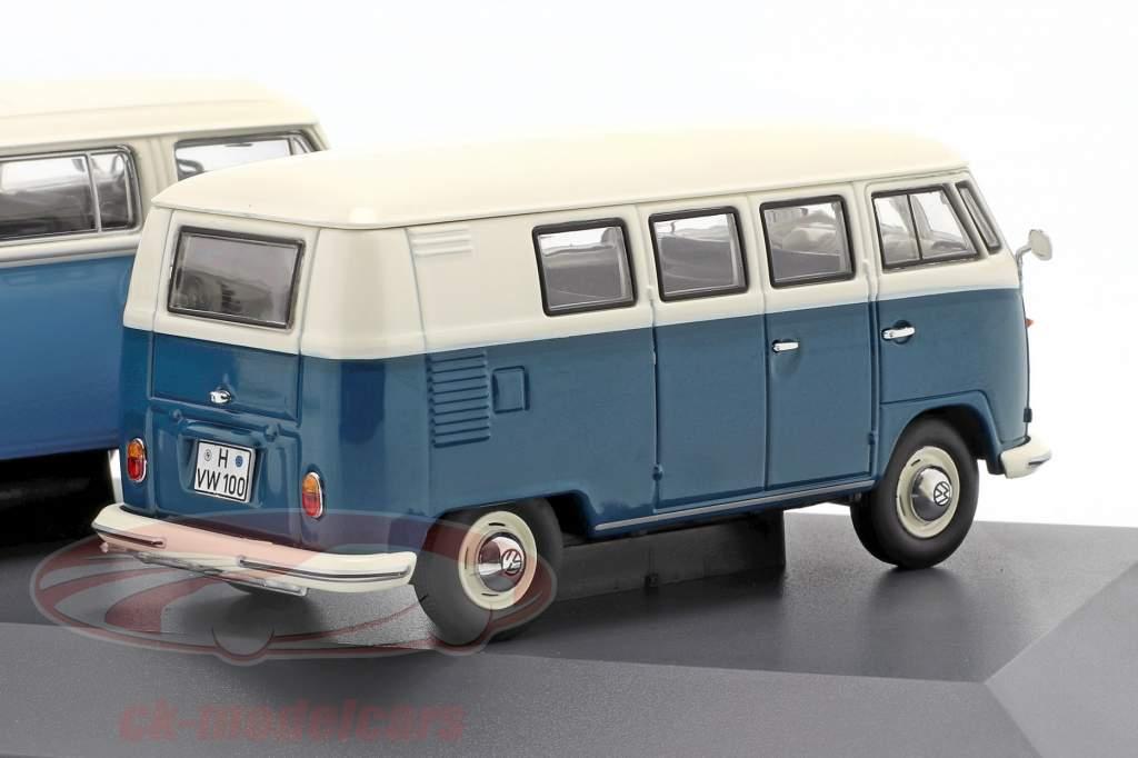 3-Car Set Volkswagen VW Transporter Det Luftkølet blå / hvid 1:43 Schuco