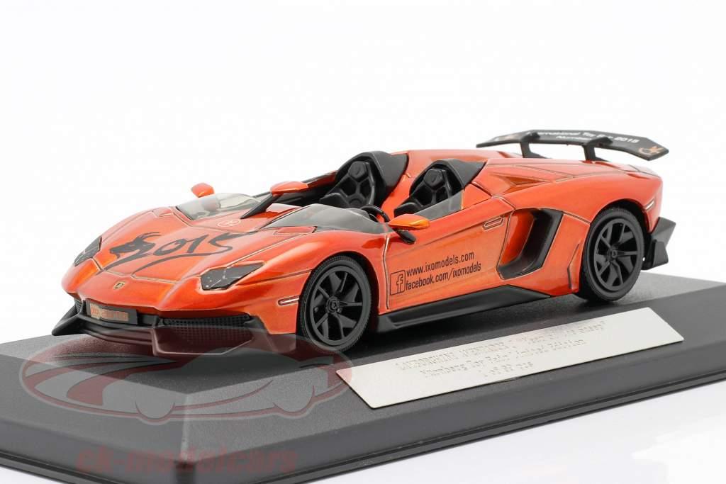 Lamborghini Aventador J Feira de brinquedos Nuremberg 2015 laranja metálico 1:43 Ixo
