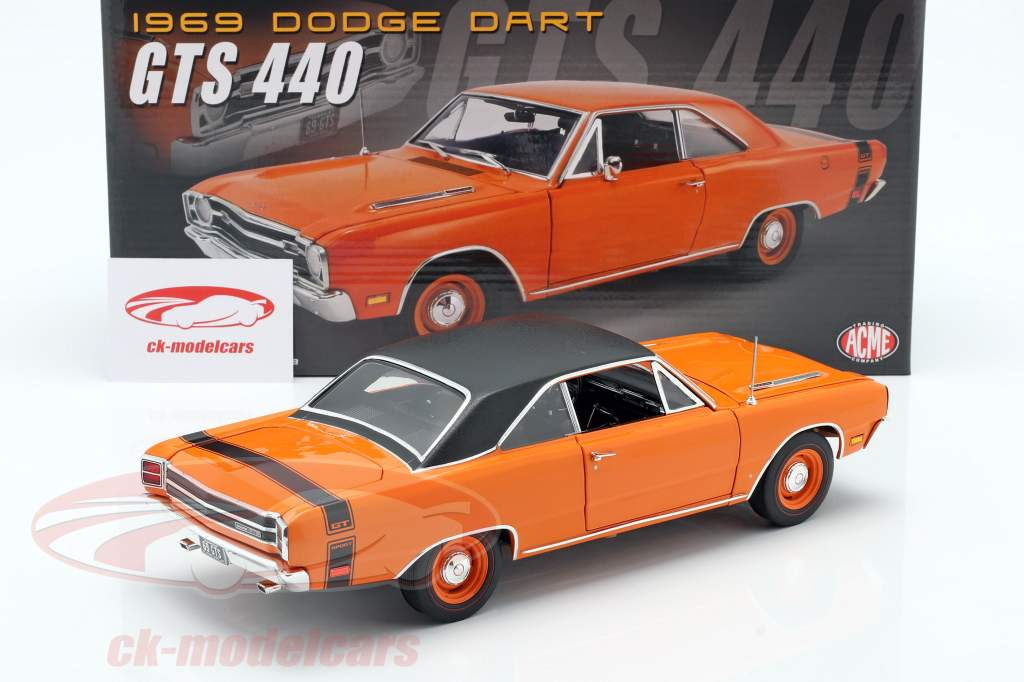 Dodge Dart GTS 440 Med Vinyl tag Byggeår 1969 orange / sort 1:18 GMP