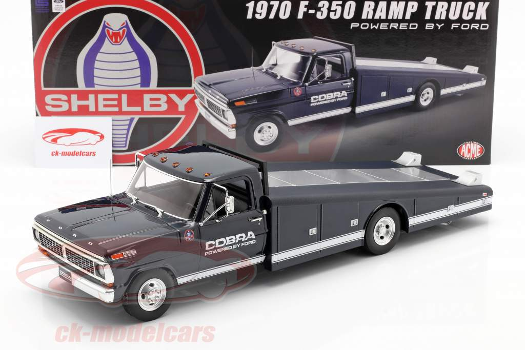 Ford F-350 Ramp Truck Shelby Cobra year 1970 blue / White 1:18 GMP