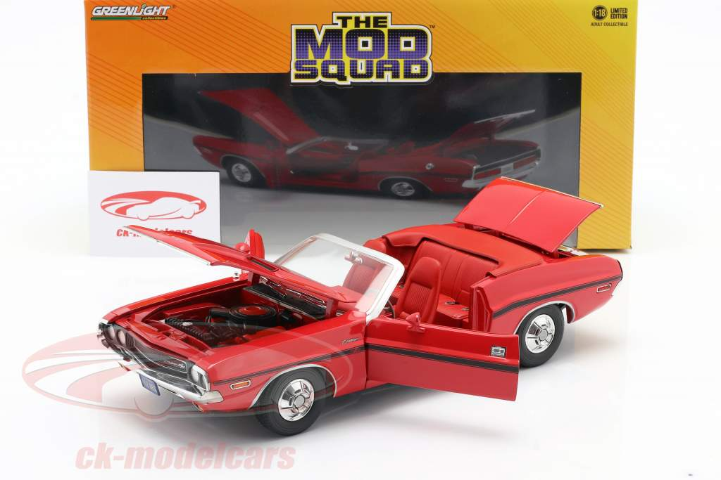 Dodge Challenger R/T 1970 serie TV The Mod Squad (1968-1973) rosso 1:18 Greenlight