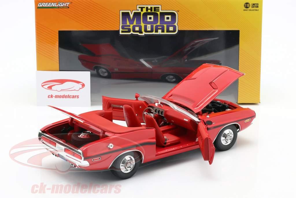 Dodge Challenger R/T 1970 Series de Televisión The Mod Squad (1968-1973) rojo 1:18 Greenlight