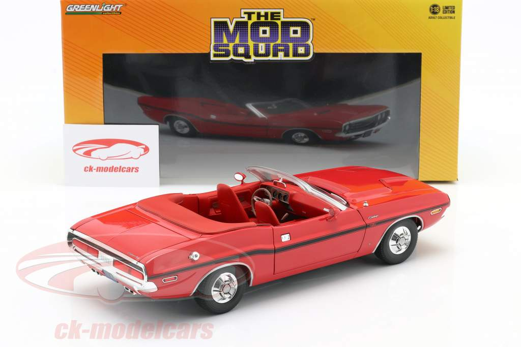 Dodge Challenger R/T 1970 TV serier The Mod Squad (1968-1973) rød 1:18 Greenlight