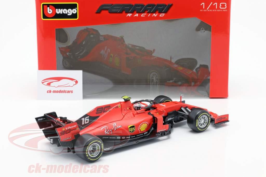 Charles Leclerc Ferrari SF90 #16 优胜者 义大利文 GP 式 1 2019 1:18 Bburago