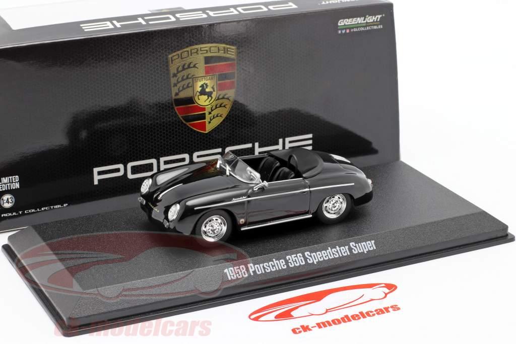 Porsche 356 Speedster Super Open Top Baujahr 1958 schwarz 1:43 Greenlight